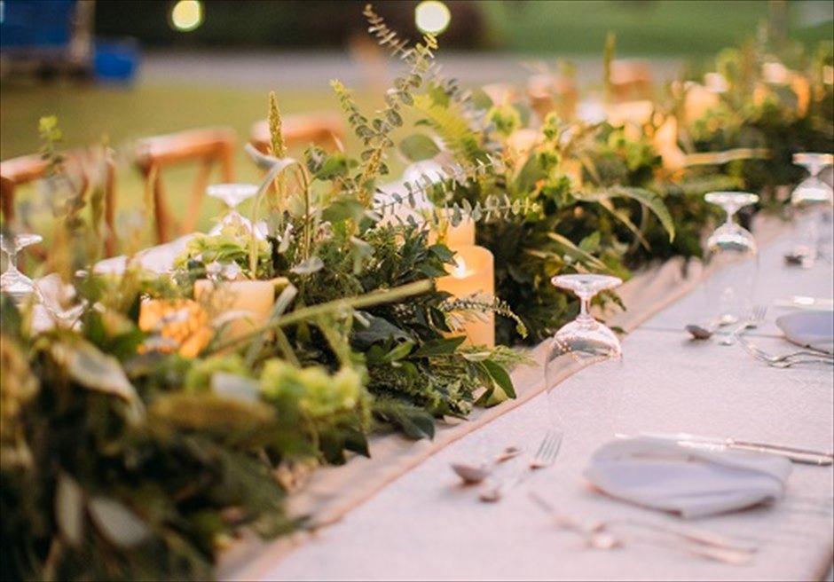 シャングリラ・マクタン・セブ ヘリパッドガーデン ウェディング・パーティー装花 アップグレード装飾