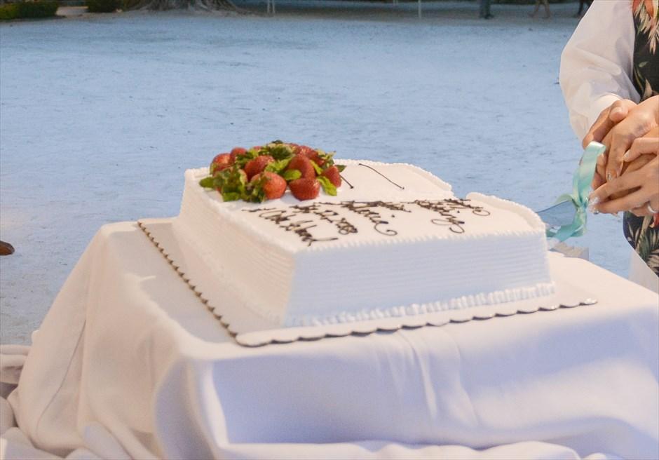 ブルーウォーター・マリバゴ・ビーチリゾート セブ島ビーチ挙式会場 セブウェディングパーティー ウェディングケーキ ケーキカットセレモニー