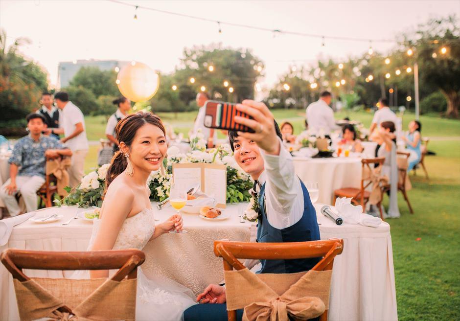 シャングリラ・セブ・マクタン ウェディングパーティー 挙式パーティー会場 ガーデンパーティー 高砂席 カップルシート