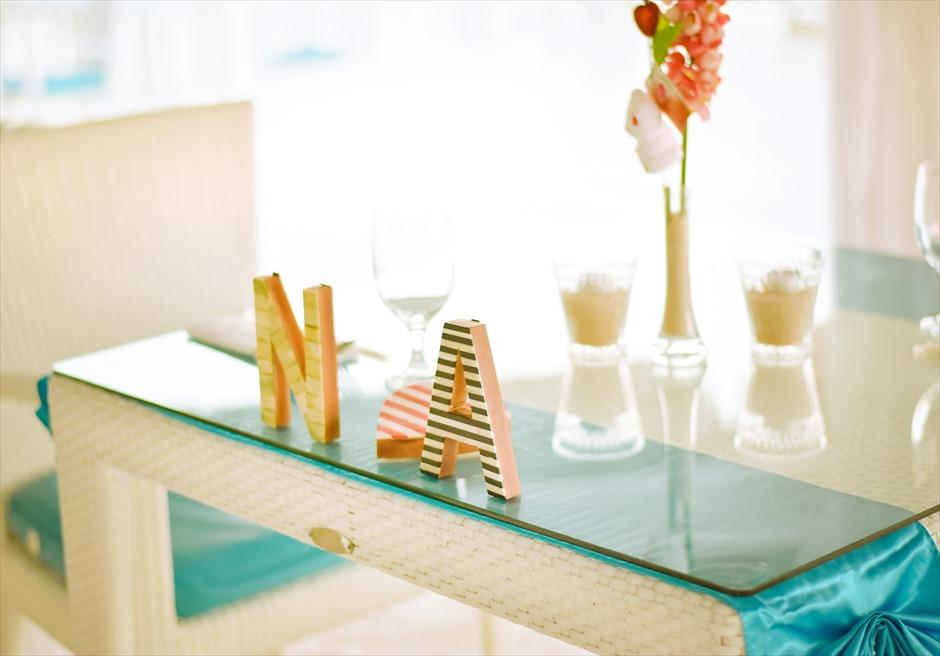 パシフィック・セブ・リゾート PCR 挙式パーティー会場 テーブル装飾