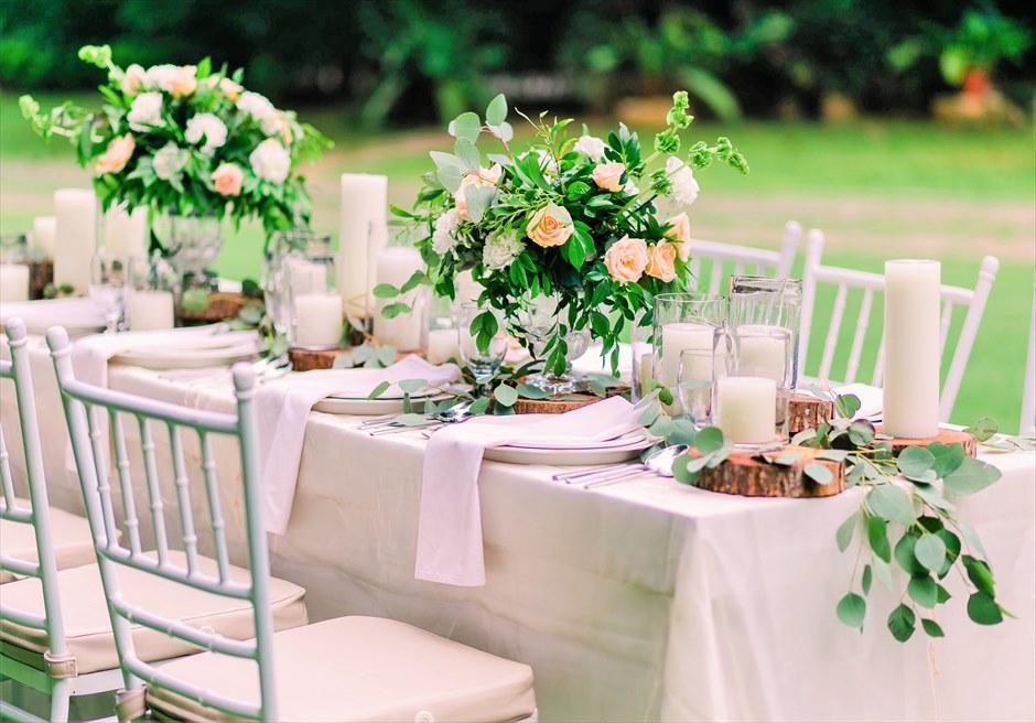 セブ・ホワイトサンズ・リゾート&スパヒストリック・ガーデン・パーティーテーブル基本装飾生花