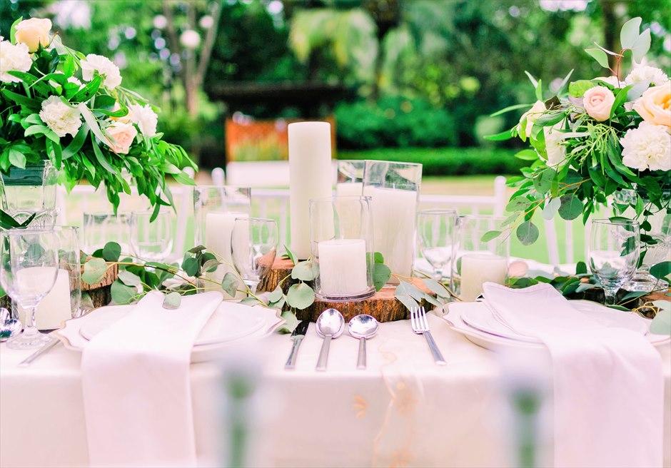 セブ・ホワイトサンズ・リゾート&スパヒストリック・ガーデン・パーティーテーブル基本装飾キャンドル