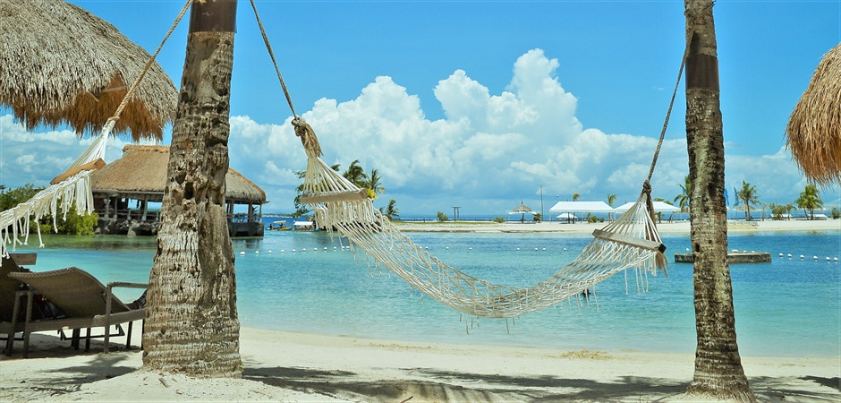 青々した海が広がる爽快な白砂ビーチ