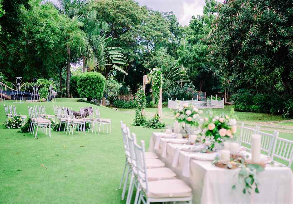オーシャンフロントの緑豊かな美しいセブ島ガーデンウェディングの特徴