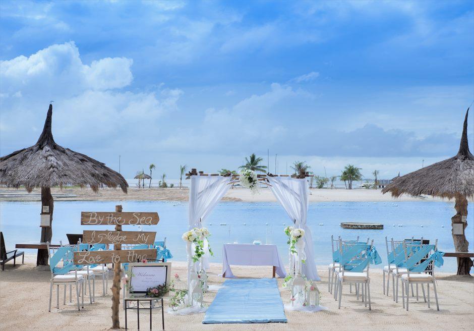 ブルーウォーター・マリバゴ・リゾートブルー・スカイビーチ・ウェディングティファニー・ブルー挙式会場装飾