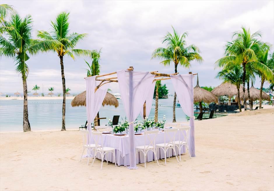 ブルーウォーター・マリバゴビーチ挙式ボタニカル&トロピカル・ウェディングパーティー会場装飾(別途代金)