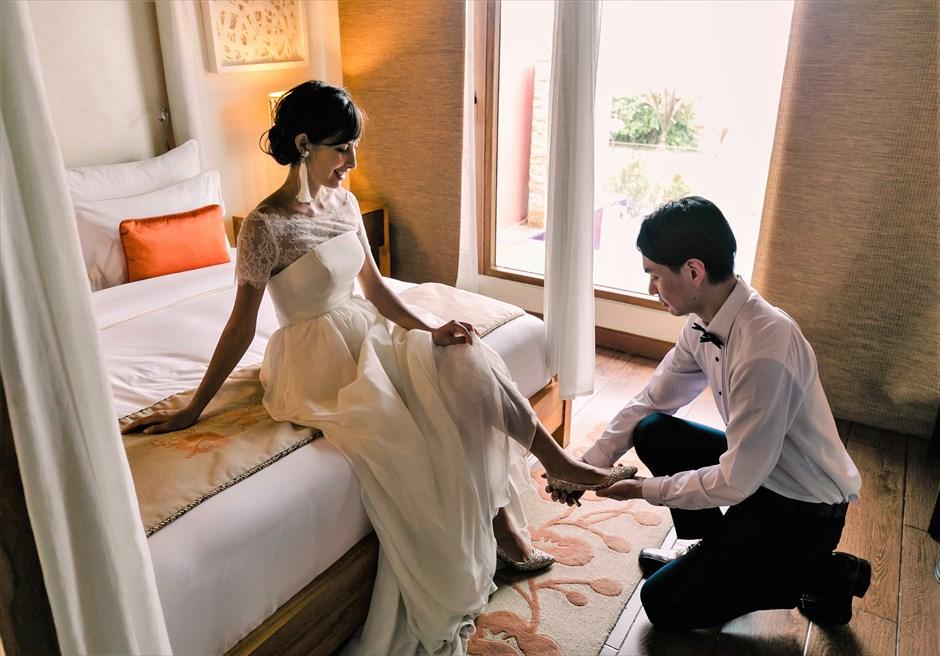 クリムゾン・リゾート&スパ・マクタンヴィラ・ガーデンボーホー・ウェディング隣接するヴィラにてお支度(要ご宿泊)