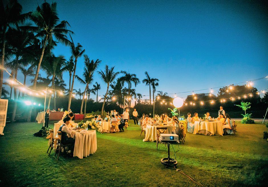 シャングリラ・マクタン・リゾートヘリパッド・ガーデンウェディング・パーティーナイト・ライトアップ