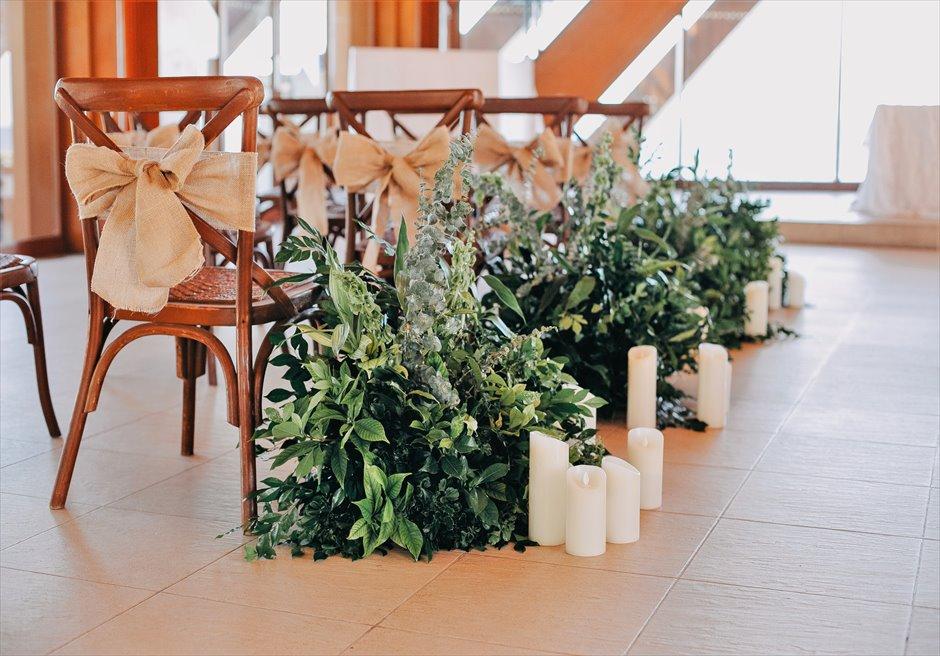オーシャン・パビリオンラスティック・ウェディングアイルサイド装飾グリーンリーフ&キャンドル