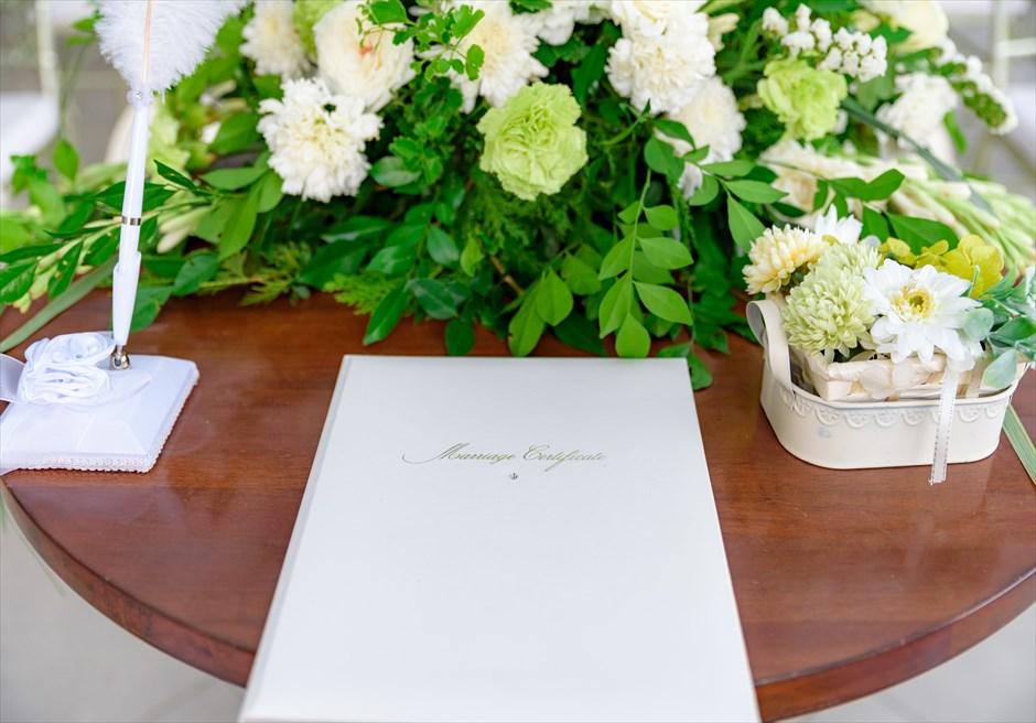 シルカ1900コロニアル・ウェディングカーサ・ドス・テラス祭壇生花装飾・リングピロー・結婚証明書