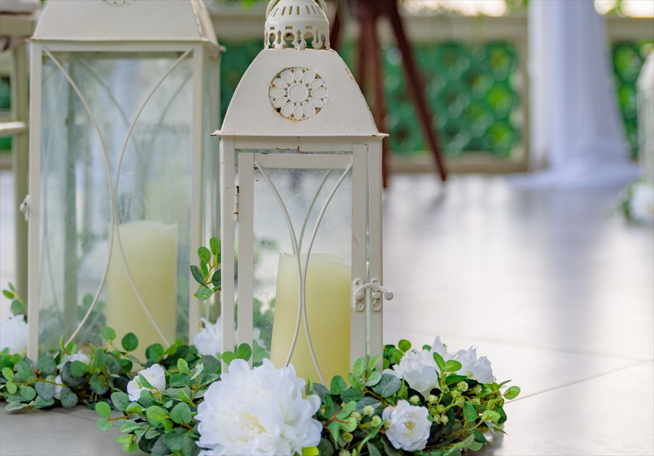 シルカ1900コロニアル・ウェディングカーサ・ドス・テラスアイルサイド生花装飾&ランタン装飾