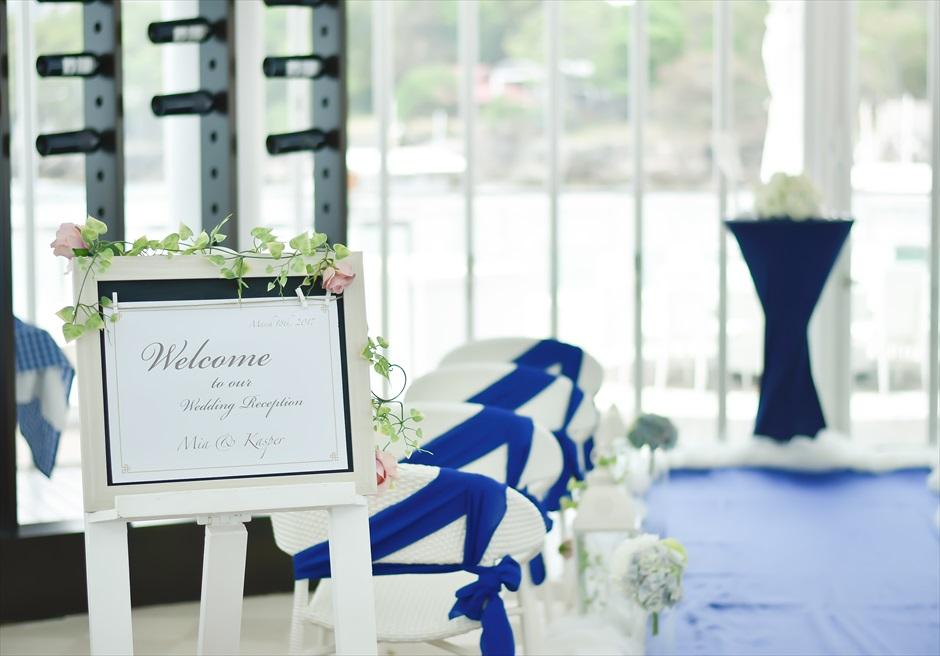 イビザ・ビーチ・クラブ挙式会場装飾マリンアイルサイド装飾&ウェルカムボード