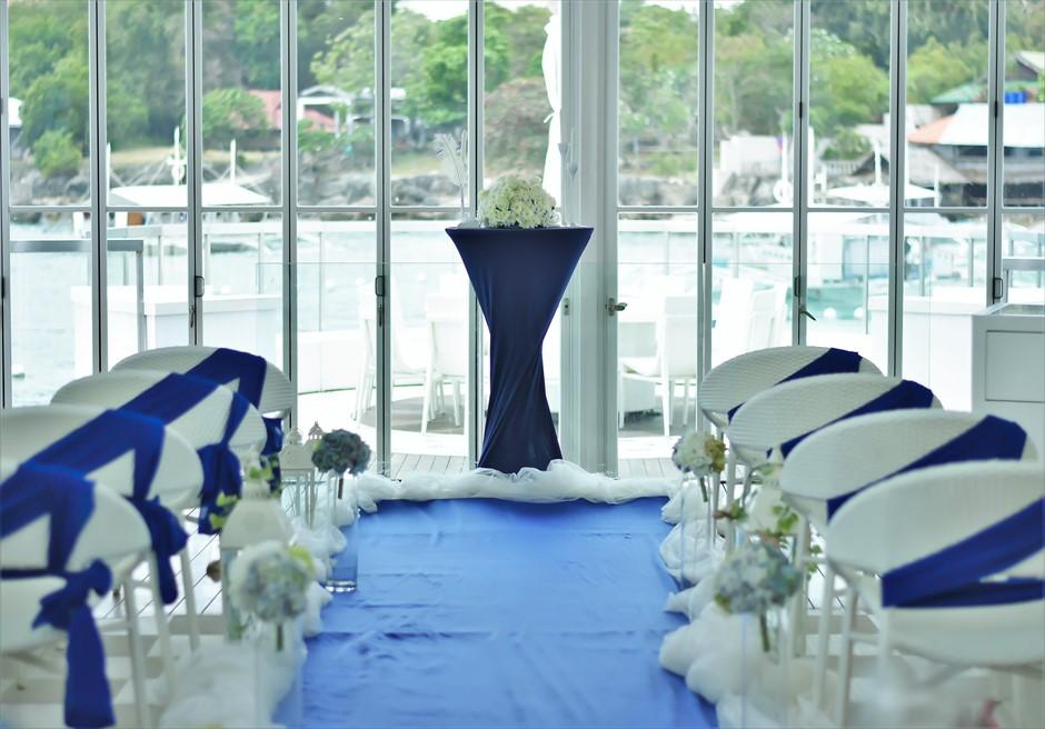 チャペル・ウェディングイビザ・ビーチ・クラブ挙式会場装飾マリン